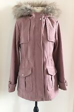 SIZE 8 NEW LOOK LADIES DUSTY PINK PARKER JACKET COAT FLUFFY HOODED FULLY LINED