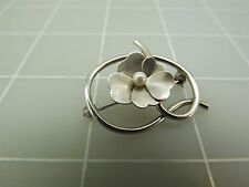 Vintage Sterling Silver PANSY Flower With Small Center Pearl Brooch Pin 4.3Grams