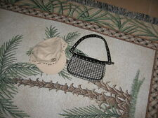 The Limited Too Black White Houndstooth Purse and Beige Cap w. Decorative Studs