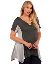 NEW! WOMEN'S PLUS SIZE CLOTHING COLOR BLOCK TOP KEYHOLE & CHAIN CHARCOAL GRAY 5X