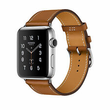 NIB 42mm HERMES Apple Watch SERIES 2 Fauve Brown Single Tour Leather *IN HAND*