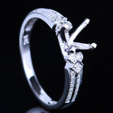 SOLID 14K WHITE GOLD SEMI MOUNT NATURAL DIAMOND ENGAGEMENT RING 6MM ROUND CUT