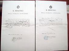 1900 LOTTO DI DUE DECRETI DI NOMINA UNIVERSITA' DI PAVIA GIURISTA LIVIO MINGUZZI