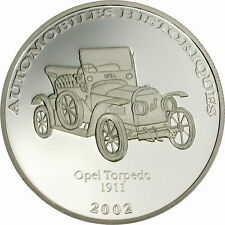 Congo 2002 Opel Torpedo 10 Francs Silver Coin,Proof