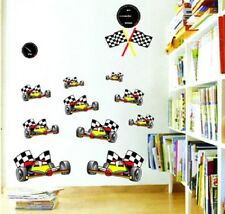 Motor Racing Cars Childrens Wall Stickers Art Nursery Play room LD1148 UK STOCK