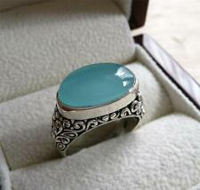 AQUA BLUE CHALCEDONY 925 STERLING SILVER DECORATIVE RING SZ N US 7