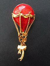 Avon Signed RED Enamel Hot Air Balloon Pin Brooch Enamel Gold Tone 2""