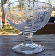 DUNCAN & MILLER - FIRST LOVE - ETCHED GLASS CANDY DISH COMPOTE - (No Lid)