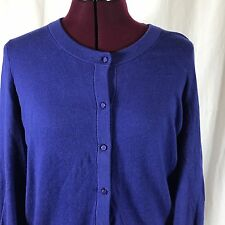Kate Spade Cotton Cashmere Blend Button Cardigan Blue Size Large L Bow Sleeves