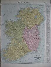 Original 1915 Map IRELAND Dublin Belfast Galway Cork Waterford Kerry Limerick