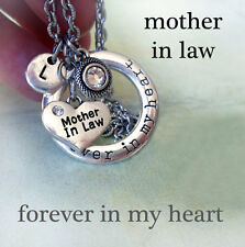 Mother in Law Forever In My Heart Necklace, Swarovski Birthstone, Letter Charm