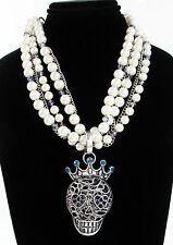 BETSEY JOHNSON 'Torsade' Skull Queen Filigree Pendant Faux Pearl Necklace
