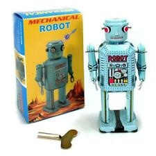 """TIN TOY BLUE MECHANICAL ROBOT 5.25"""" NEW R-35 Wind Up Retro Collectible Space Age"""