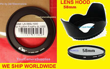 RING ADAPTER + UV FILTER + FLOWER LENS HOOD for FUJI FINEPIX S9150 S 9150 58mm