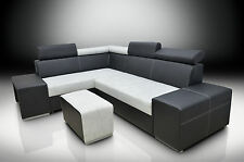 NEW! MODERN CORNER SOFA BERT WITH HEADRESTS, DRAWER IN THE ARM AND A FOOTSTOOL