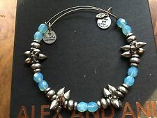 RARE ALEX and ANI AQUA SKY Blue SPIKE Vintage BEADED SILVER Bangle BRACELET ��