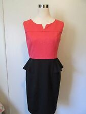 En Focus Studio Black/Coral Color block Knee Length Peplum Dress NWOT SZ: 8