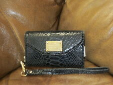 Michael Kors Black Snake Leather IPHONE 4 Smartphone Case Wristlet/Wallet Clutch