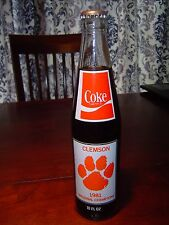 CLEMSON TIGERS COKE COCA COLA BOTTLE FULL SEALED 1981 NATIONAL CHAMPIONS 10oz