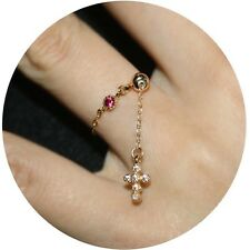 cross charm hot pink rhinestone gold plated bead finger ring bridesmaid jewelry