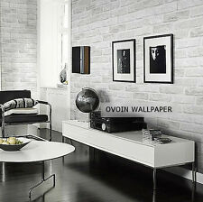 3D Brick Pattern Wallpaper Roll White Grey Real Looking Deep Embossed Textured