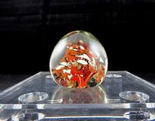 """ART GLASS BLOWN INDIA BROWN AND WHITE FLORAL 2 1/2"""" PAPERWEIGHT ORIGINAL STICKER"""