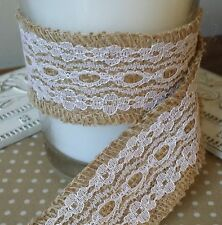 Woven Edge Jute Hessian & Lace Ribbon. 40mm. Vintage, Wedding, Rustic, Floral