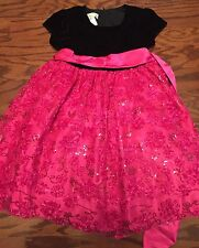 Little Girls American Princess Black and Fuchsia Pageant, Formal Dress Size 6
