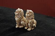 Netsuke style kamakura koma inu shishi chiens (lion chiens)