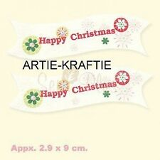 PK 10 HAPPY CHRISTMAS BANNERS FOR CARDS & CRAFTS