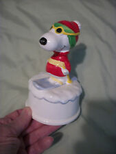 """Estate 1958, 1966 Snoopy on Skiis Music Box Porcelain """"Edelweiss"""" Peanuts"""