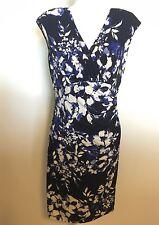 RALPH LAUREN Jersey Wrap DRESS Blue Black Floral Ruched Wrap Size 6