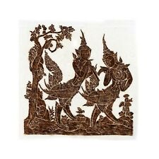 """Thai Temple Rubbing - Brown - Mythical Beings - 24"""" x 24"""" -               2412BR"""