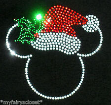 "7"" Mickey Minnie Santa Hat Christmas iron on rhinestone transfer bling patch"