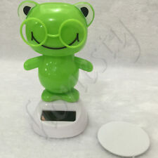 Lovely Dancing Green Frog Bobble Head Solar Toys Office Desk Home Car Decor