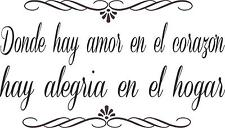Where there is love in Spanish quote wall vinyl decal