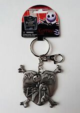 Nightmare Before Christmas - Jack & Sally Heart Pewter Keychain - Backpack Clip
