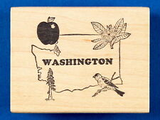 Rare State of Washington Rubber Stamp by Double D Apple Goldfinch Rhododendron
