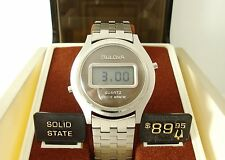 Vintage Bulova LCD Quartz Men's Watch c1977, Working, Orig Band and Display Box