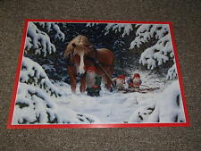 Swedish Christmas Poster Print Tomte Gnome and Horse by J Bergerlind BO551