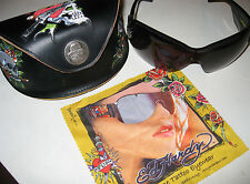 Womens Skull Heart Crystal Tattoo Ed Hardy Black Sunglasses EHS 023 with Case
