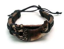 Adjustable Black Leather Bracelet with a Tribal Brown Lion Design
