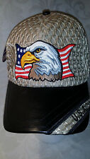 Patriotic Eagle USA Flag Gold Mesh Cap with Pleather Bill Military Hat Gold NWT