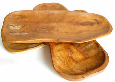 Handmade Teak Wood Wooden Fruit  or Snack Serving  Plate 35 cm Home Décor NEW