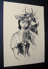 Karl Hofer. Mädchen mit Christblume. sign Lithographie, 1946 Carl Hofer signiert