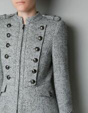 ZARA HERRINGBONE WOOL MILITARY COAT BUTTONS LONG BLOGGER S M L NWT