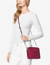 ❤️NWT MICHAEL KORS JET SET TRAVEL CHAIN LARGE LEATHER CROSSBODY BAG ❤️CHERRY RED
