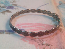 Braided Mexican Silver Twisted Bangle Bracelet Vintage 17.6 Grams