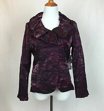 SAMUEL DONG $375 NWT Wired Collar Lightweight Embroidery Jacket Signature Rose L