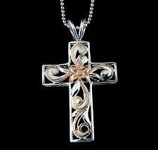 925 STERLING SILVER 2 TONE PINK HAWAIIAN PLUMERIA FLOWER SCROLL CROSS PENDANT
